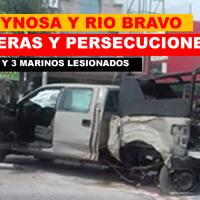 Vuelcan marinos en zona centro de Río Bravo y en Boulevard el maestro otra vez escenario de violencia en Reynosa...