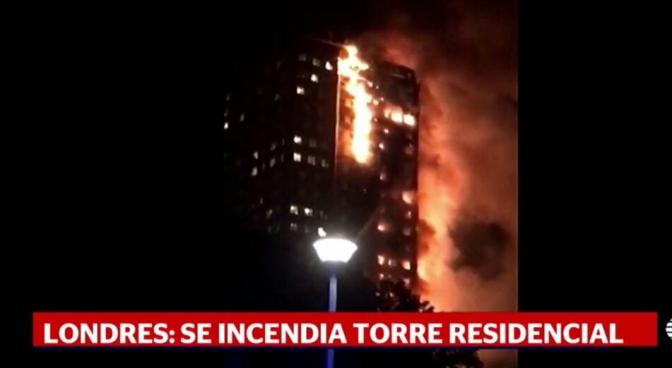 Reportan incendio en edificio de Londres