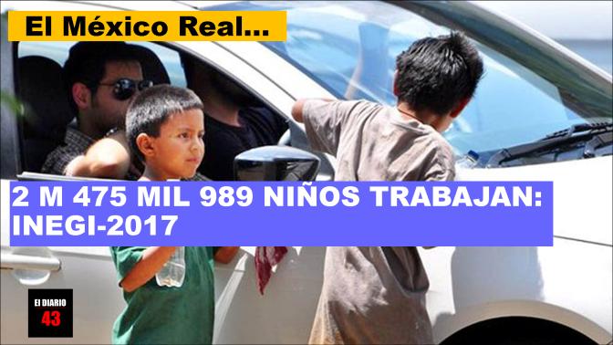 A erradicar… en México, 2 millones 475 mil 989 niños trabajan: Inegi