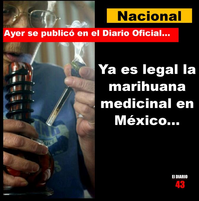 """""""A partir de hoy queda autorizado en el DOF el uso médico de la marihuana en México…"""