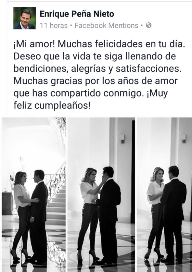 EPN felicita a su esposa Angélica Rivera por su cumpleaños