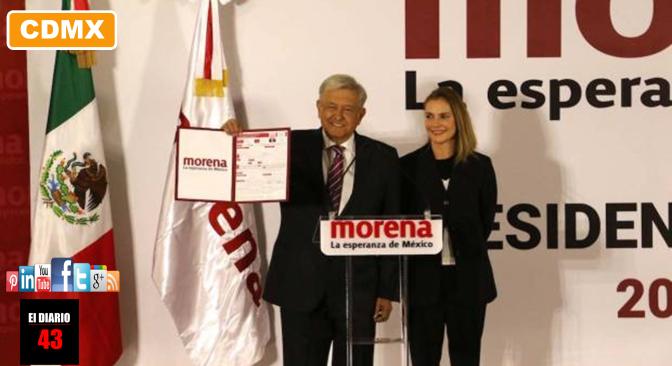 AMLO se registra como precandidato de Morena a la Presidencia
