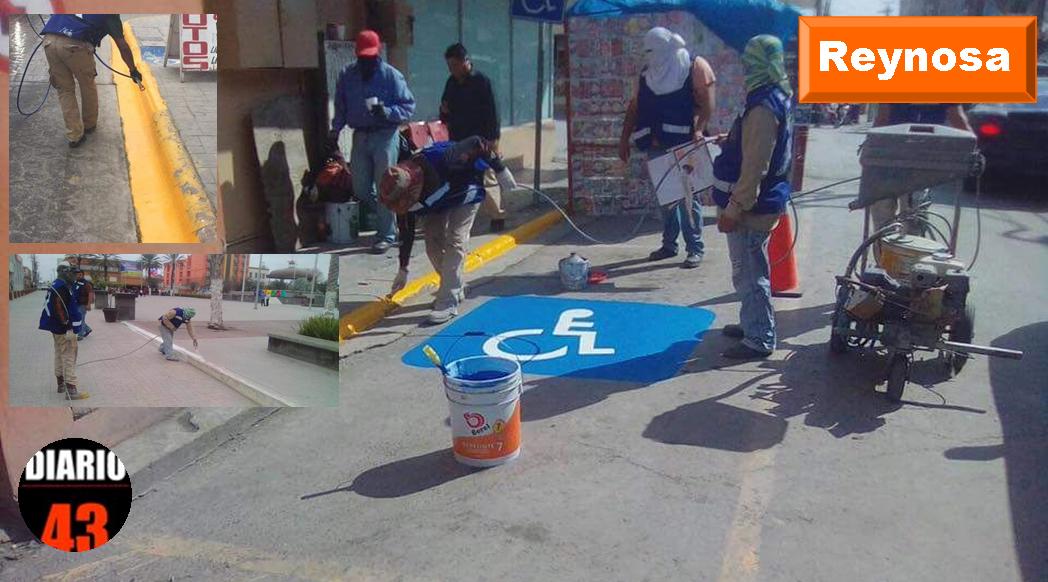 Trabaja Servicios Primarios en repintado de vialidad del primer cuadro de la ciudad..