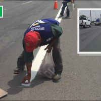 Realizan Instalación de Vialetas Reflectivas en carretera Reynosa-Río Bravo