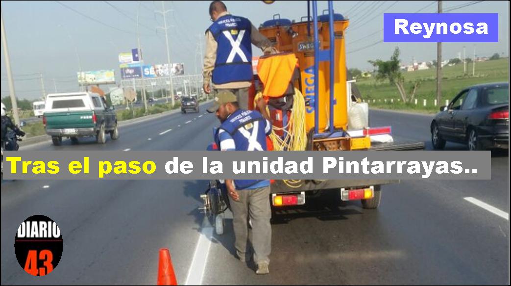 labores de delimitación de carriles en el libramiento Monterrey-Reynosa