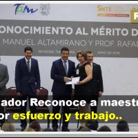 Entrega medalla al mérito educativo a maestros de 30 y 40 años en Reynosa