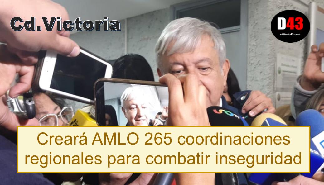 Creará AMLO 265 coordinaciones regionales para combatir inseguridad