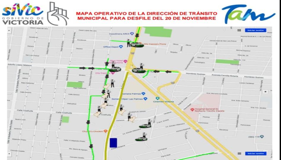 Mapa en Cd.Victoria ;Anuncian cierre de calles por desfile del 20 de noviembre