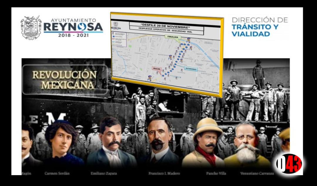 Mapa en Reynosa; Anuncian cierre de calles por desfile del 20 de noviembre