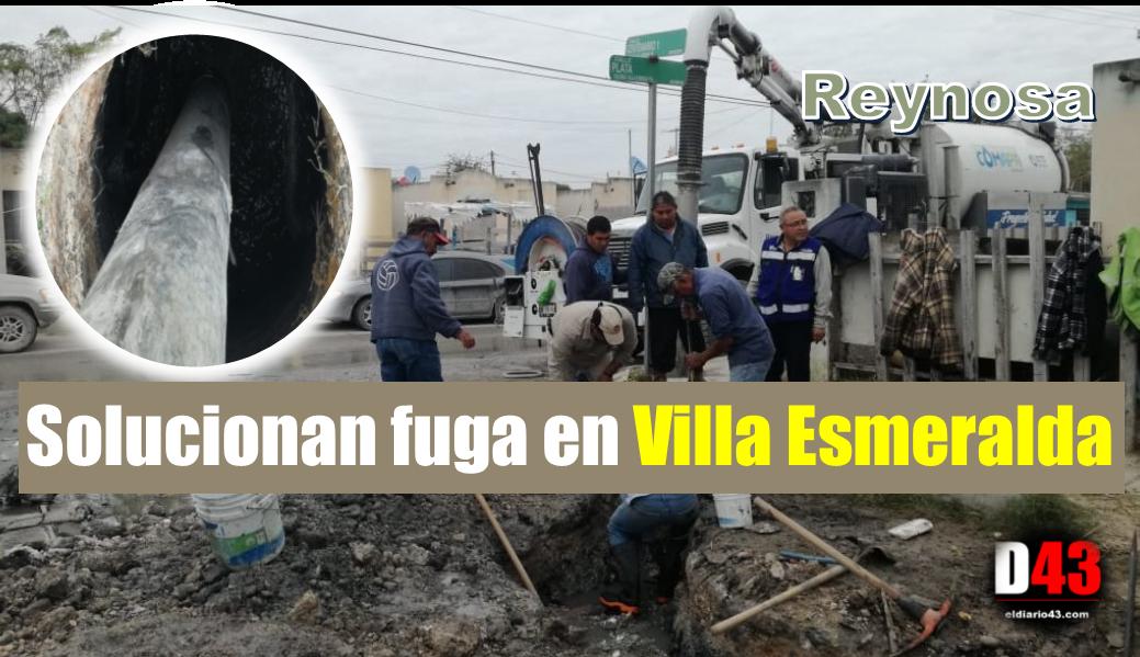 Soluciona COMAPA fugas de agua potable y residual en Villa Esmeralda