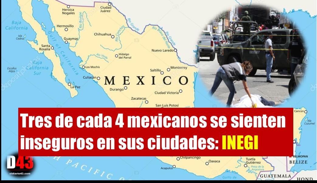 En México, 73.7 % de la población,  en su ciudad es inseguro : INEGI
