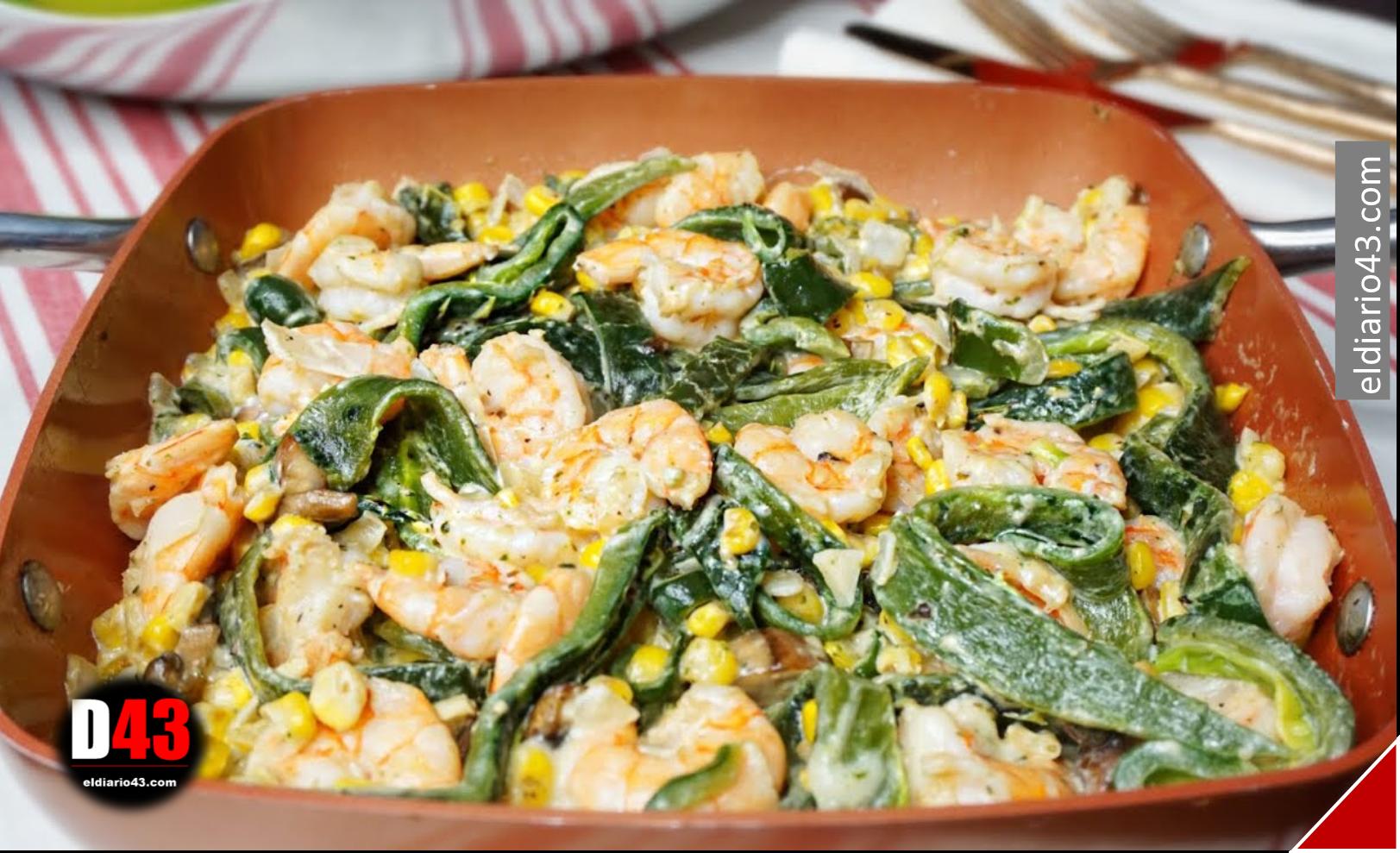 Comida  de cuaresma económica y fácil rajas con elote y camarón..