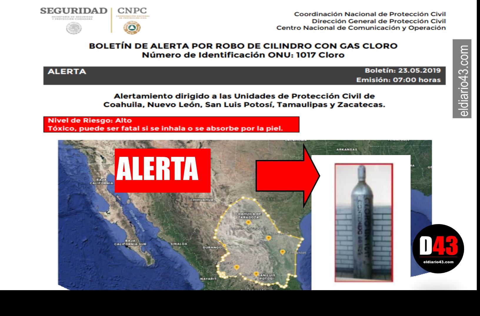 Alertan por robo de cilindro con gas tóxico en Nuevo León