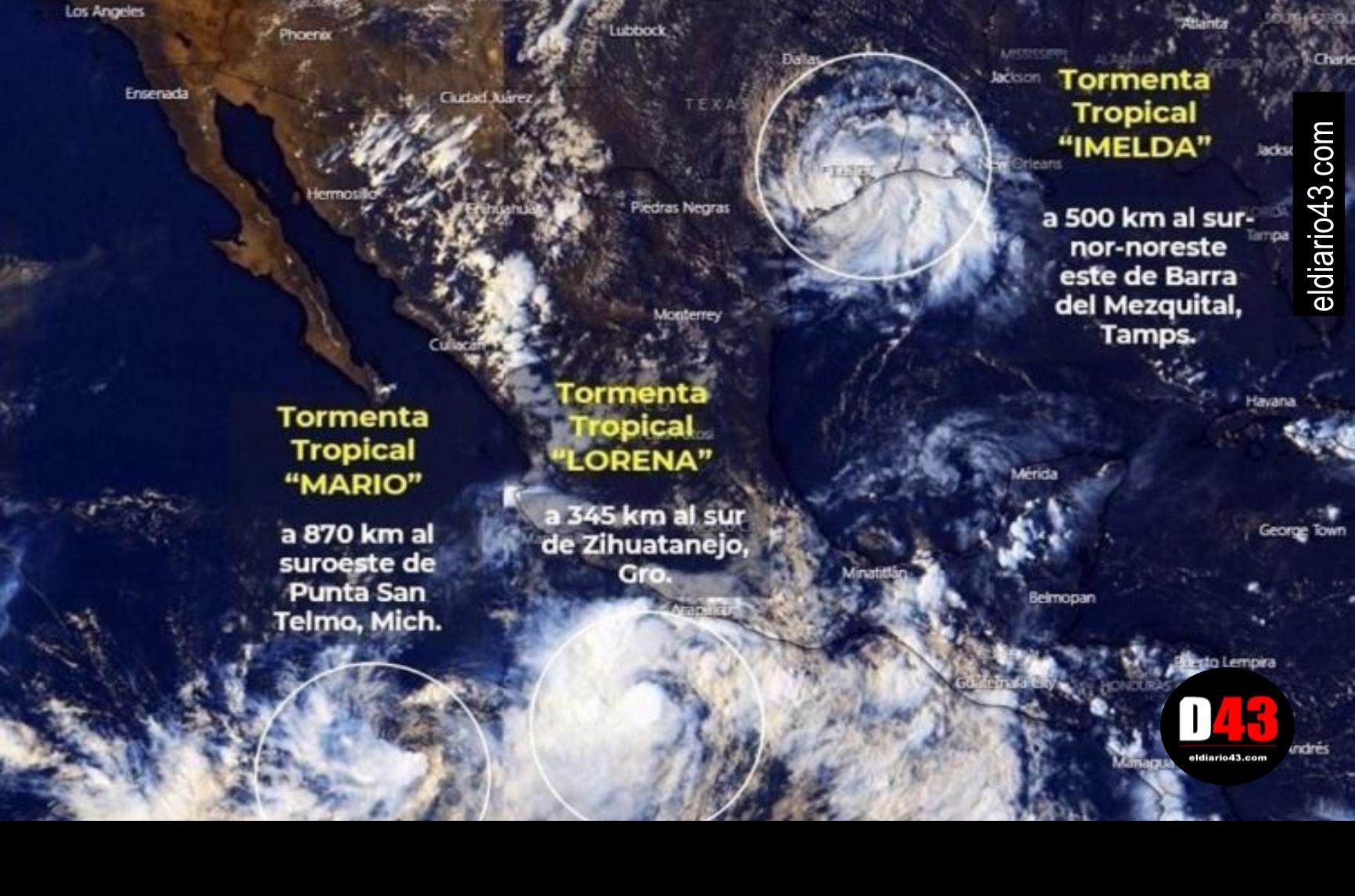"""Las tormentas tropicales """"Lorena"""" y """"Mario"""" casi se juntan en el Pacífico y se dirigen al noroeste"""