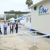 Supervisa Gobernador avance de la construcción de Hospital Móvil en Matamoros