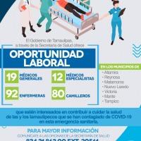 Gobierno de Tamaulipas lanza convocatoria para contratar personal de salud para atender en hospitales COVID