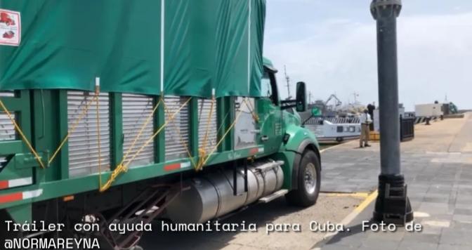 Tráileres cargados con ayuda humanitaria llegaron al Puerto de Veracruz para su embarque hacia Cuba