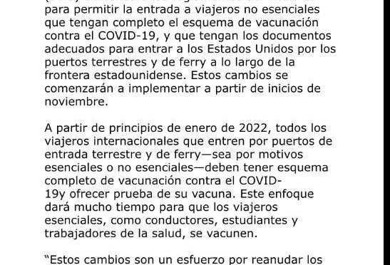 Embajador de USA en México, Ken Salazar anuncia ajustes en las restricciones para viajes por frontera terrestre.